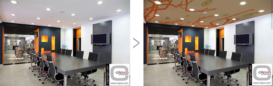 Office renovation with stretch coverings
