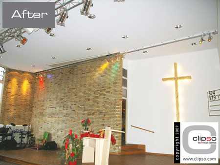 ceiling wall galleries before after church