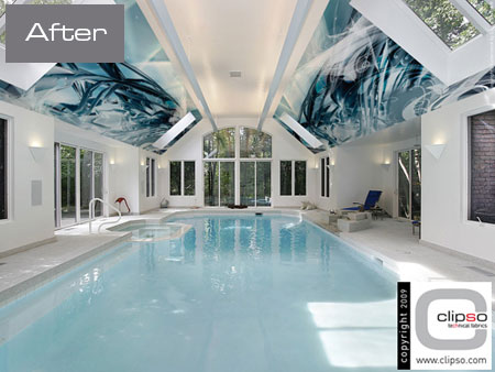 ceiling wall galleries before after swimming pool