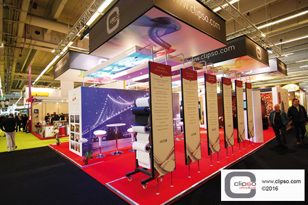 CLIPSO tradeshow booth customizable printed